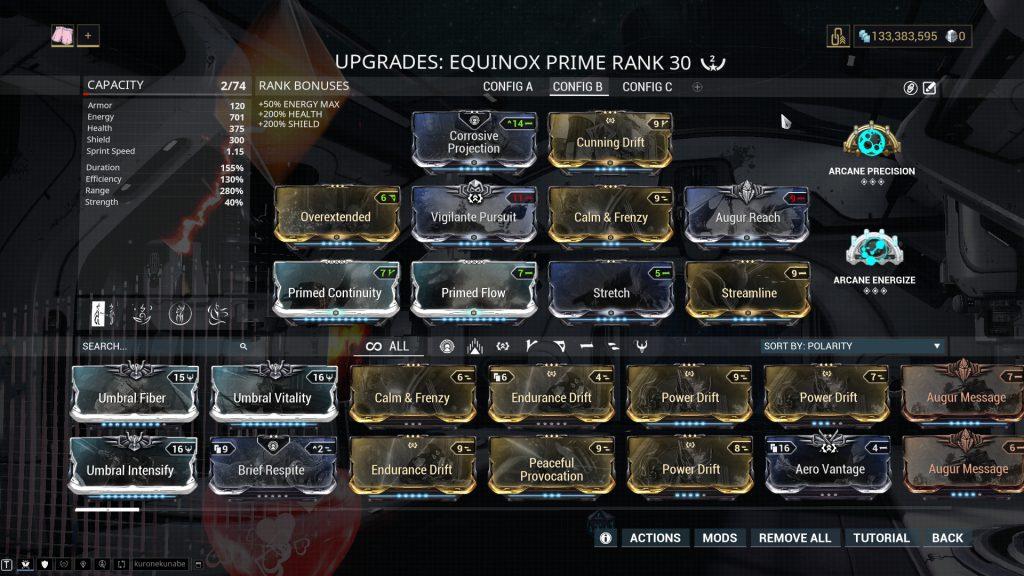 Equinox Affinity Farming Build